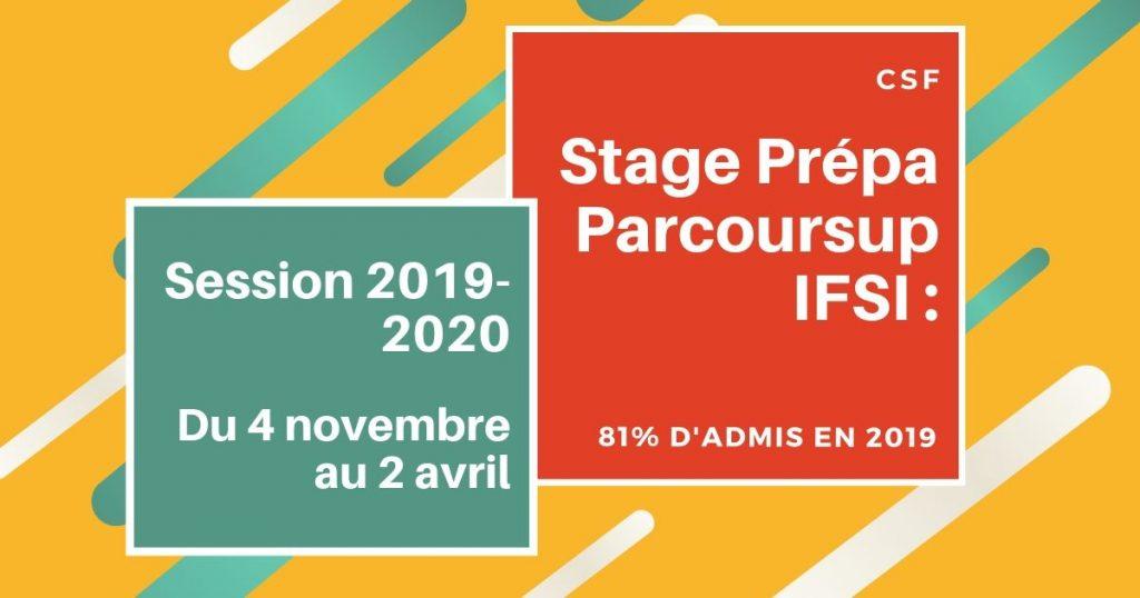 CSF-Stage Prépa Parcoursup IFSI - Session 2019-2020-4 novembre - 2 avril