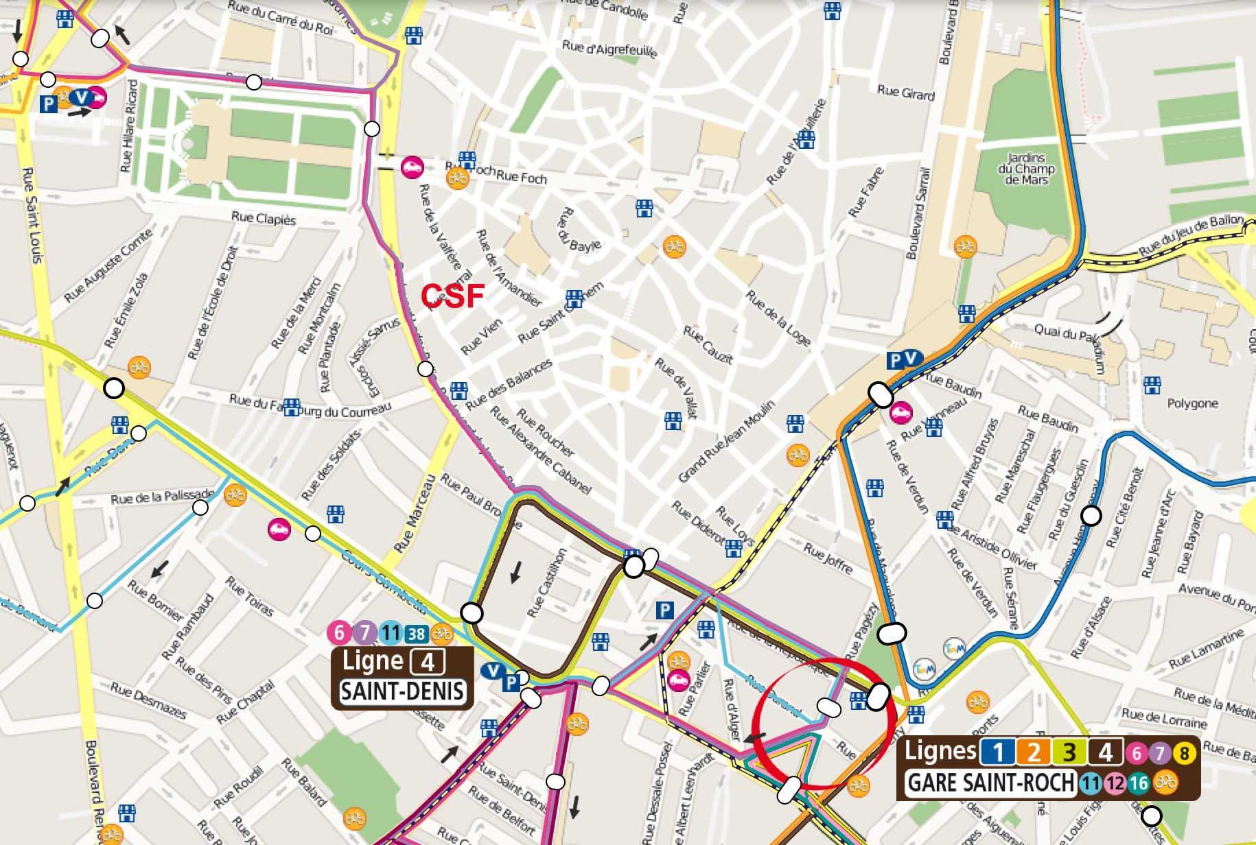 Plan d'accès à CSF en Tram