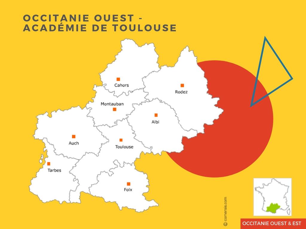 Carte-Occitanie-Ouest-Académie-de-Toulouse-CSF-prépa-parcoursup-IFSI-81%-d'admission-en-2019