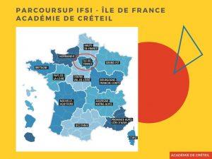 carte-academie-creteil région-ile-de-france-CSF-parcoursup-IFSI